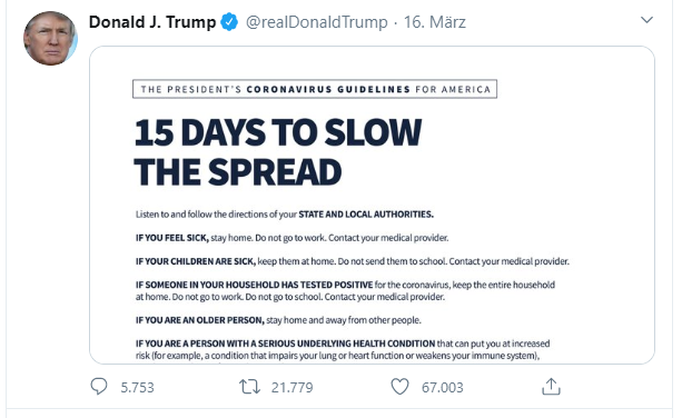trump 15 days to slow the spread corona covid-19 we will win